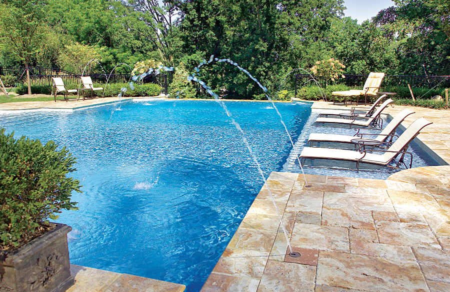 Toronto top 30 swimming pool designs photos and video for Pool design with tanning ledge